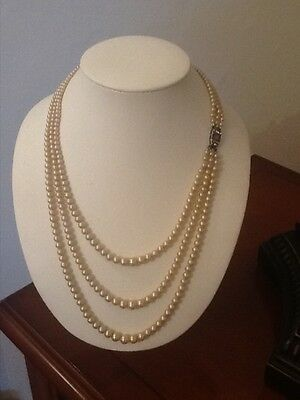 Pearl necklace 3 graduated rows silver side clasp with crystals