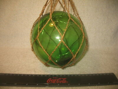 "Vintage Green Glass Fishing Float Original 135mm /5"" dia Collectible"