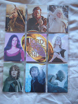 Lord of the rings ROTK UK Binder Card set 9 cards R1 - R9