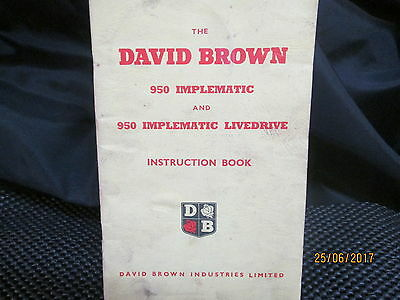 DAVID BROWN 950 Implematic and 950 Implematic Livedrive Instruction Book