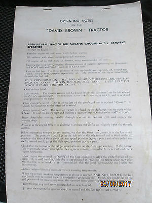 DAVID BROWN Tractor Operating Notes