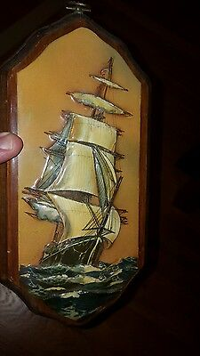 Unique Nautical Decor Art Plaque 3D Tall Ship Protrudes Outward Seems 3D Look!