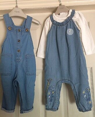 Girls Next 2 Pairs Of Soft Denim Dungarees With Lovely Detail 6-9 Months Bnwt