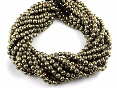 """1 Strand Natural Pyrite Faceted Rondelle Beads 6-6.5mm 13.5"""" Long Beads Strand"""