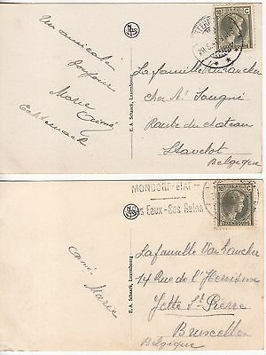 Luxembourg: 2 Postcards, both posted to Belgium