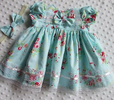 moonbutton handmade dress and headband set 0/3 months- reborn dolls 20/22 inches