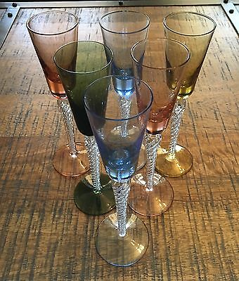 Six STUART Crystal Triple Air Twist Harlequin Cordial Glasses - Tall - Vintage