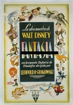 FANTASIA, 1940, Walt Disney, Mickey Mouse, Rare ARGENTINE 1-Sheet LINEN-BACKED *