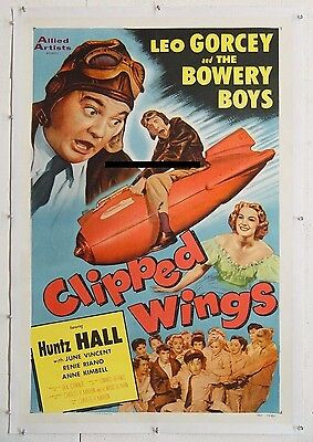 CLIPPED WINGS, 1953, BOWERY BOYS comedy, scarce US One-Sheet - LINEN-BACKED  ^