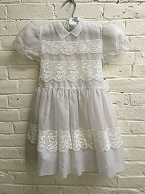 Vintage 50s Girl 5 6? White Dress Sheer EUC