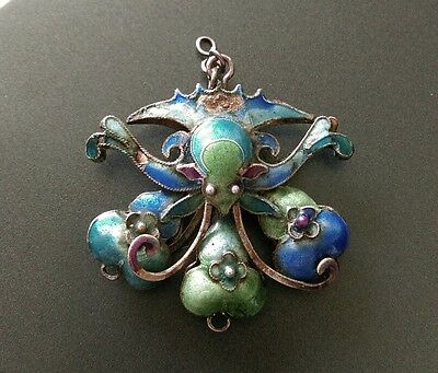 Chinese Antique Silver & Blue Enamel Butterfly Pendant Court necklace part chain