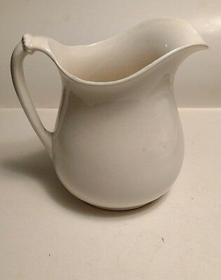 "OLD VINTAGE Ivory Ironstone 11"" Water Pitcher, very old nice antique decoration"