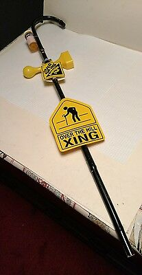 OVER THE HILL SURVIVAL CANE Gag Gift Party Old Age Birthday Yellow Plastic sign