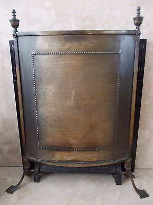 vintage brass curved fire screen