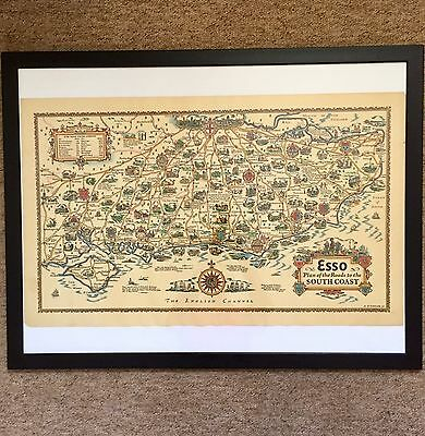 Original Circa 1936 ESSO Map/ Plan Roads To The South Coast.