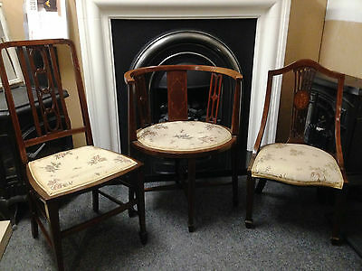 Set Of Edwardian Inlaid Chairs Corner Parlour & Bedroom Chair