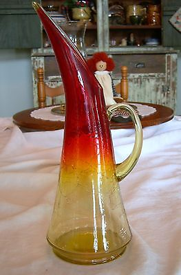 Vintage AMBER RED CRACKLE GLASS PITCHER WINE CARAFE Blenko or Fenton Mid Century