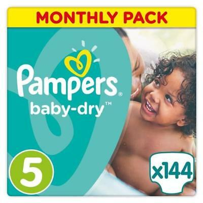PAMPERS Baby Dry Taille 5 - 11 a 23kg - 144 couches - Format pack 1 mois