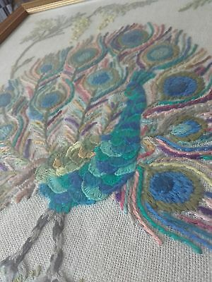 Vintage Embroidery. Needlework Peacock Flowers English Garden Framed Glazed 1978
