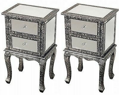 2 Black/silver Embossed Mirrored Bedside Cabinets Lamp Table Cabinet Bedroom