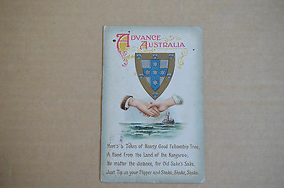 EARLY 1900s ADVANCE AUSTRALIA HANDS ACROSS THE SEA POST CARD