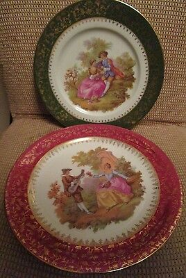 Vintage Set Of 2 Limoge Fragonard Dinner Size Plates  Green And Cranberry