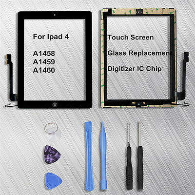 Black For Ipad 4 A1458 A1459 A1460 Touch Screen Digitizer Glass Replacement+Tool
