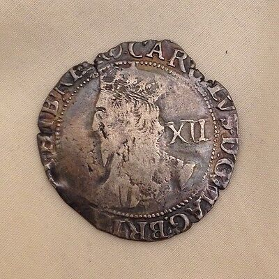 King Charles I shilling silver hammered coin 1st