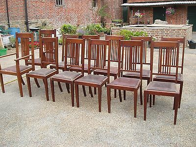 Set of 12 JAS Shoolbred & Co Dining Chairs, Arts and Crafts