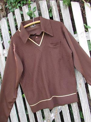 Vintage dark brown poly long sleeves JCPenney knit shirt V neck polo XL 60s 70s