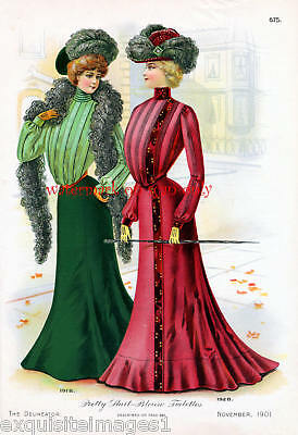 1901 Fashions~Delineator~Toilettes NEW Lg Note Cards