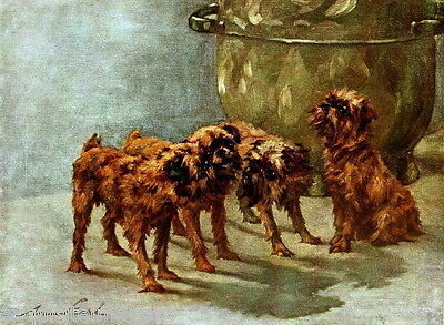 1914 Maud Earl~ Four Brussels Griffon Puppy Dog Dogs ~ NEW Large Note Cards