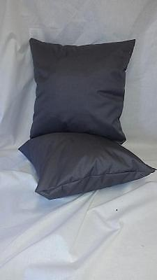 2 Grey Waterproof Garden Cushions Filled with Pads Outdoor Water Resistant.