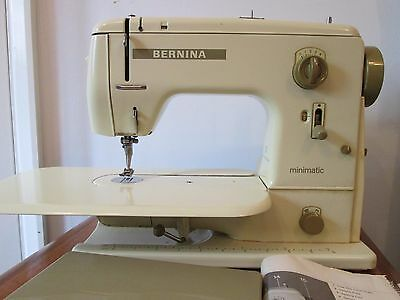 VINTAGE BERNINA MINIMATIC 707 SEWING MACHINE GWO with PAPERWORK, CASE & EXTRAS