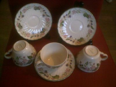 BHS victorian rose cups / saucers x 3