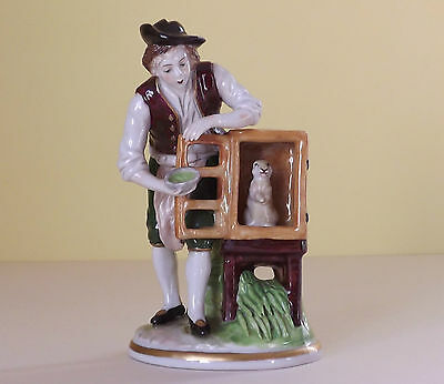 Vintage Sitzendorf Porcelain Figurine ~ Boy Feeding Rabbit in Hutch (P16,89)