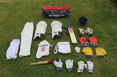 Cricket Kit Joblot Bat  Pads, Gloves  Helmet Trousers Bag