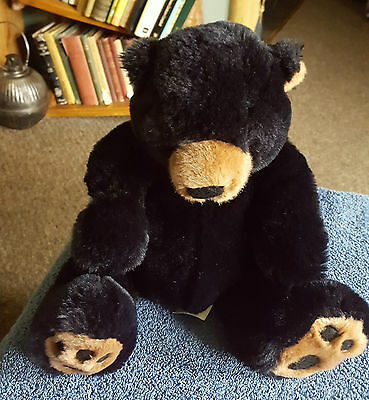 "Russ Berrie Black Teddy Bear Blacky Plush Soft Stuffed Toy 12"" Free Uk P&p"