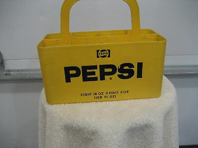 VINTAGE PEPSI-COLA YELLOW PLASTIC 8, 16oz BOTTLE CARRIER