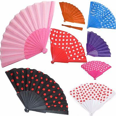 Spanish Chinese Polka Dot Plain Folding Hand Fan Festival Fancy Dress Wedding