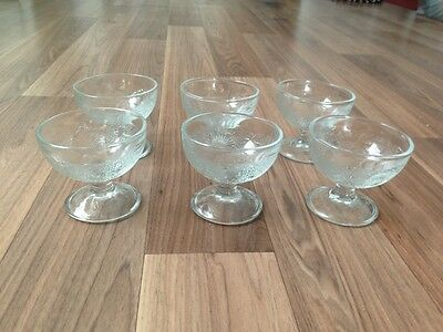 Set of 6 Glass Ice cream / Desert bowls