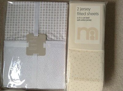 5 x Mothercare & organic cotton Little Green Sheep fitted jersey cot sheets, new