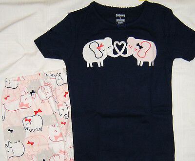 Gymboree Gymmies Sleepwear Girls 5 8  S/S Top Short Leg Bottom NWT Elephants