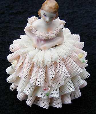 "MZ Irish Dresden Lace Figurine ""Ira"" ""Wedding Cake Skirt Style"""