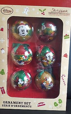 Disney Store Set of 6 Mickey And Minnie Mouse Christmas tree Baubles