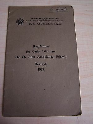 Regulations For Cadet Divisions St John Ambulance Brigade 1933 Booklet