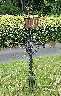 Antique Weathervain, Almost 6 feet in height. Lead securing base.