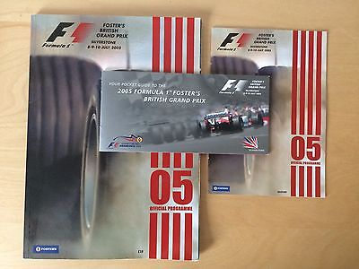 Formula 1 British Grand Prix Silverstone 2005 Race Programmes x2 & Ticket Holder