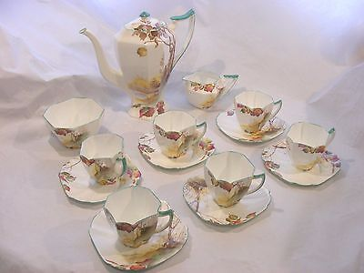 Shelley Queen Anne Coffee Set Autumn Leaves Art Deco
