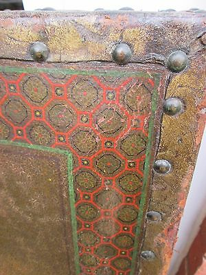 Antique Painted Leather Tri fold Three Way Modesty Dressing Screen Room Divider